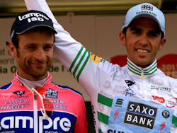 Contador and Scarponi on the 2011 Volta a Catalunya podium